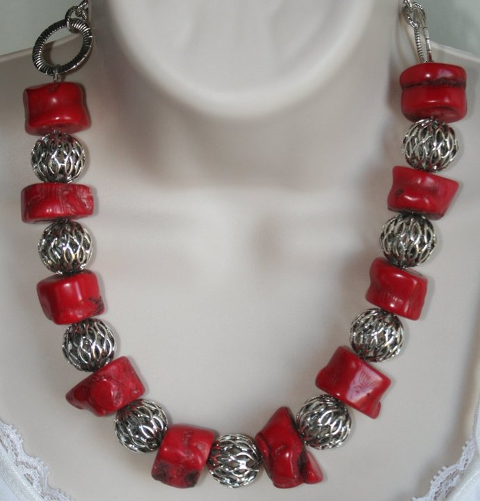 Chunky Raw Red Bamboo Coral Statement Necklace, Ethnic Tribal Necklace, Rough