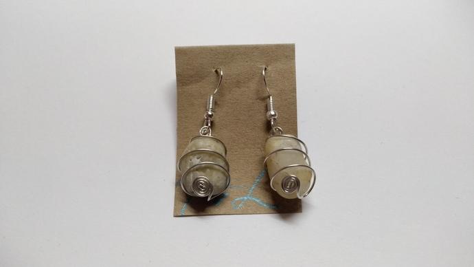 Sea Stone Earrings, Silverware Stone Earrings, Gifts For Her