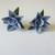 Blue Cold Porcelain Floral Clip Earrings