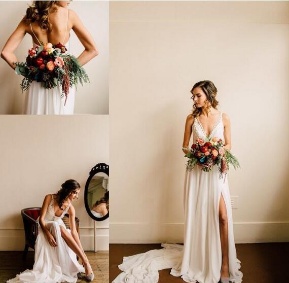 2018 New Chiffon V Neck Country Style Bohemian Wedding Dresses Sexy Split Lace