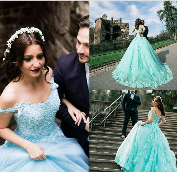 Plus Size Wedding Dresses Floor Length Off the Shoulder Tulle With Pearls Bridal