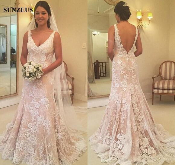 8f932307fa Mermaid Vintage Lace Wedding Dresses With Flower Appliques Elegant V-neck  Low