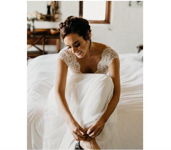 A Line Sexy Bohemian Beach Wedding Dresses Sleeveless Sheer Neck Floor Length