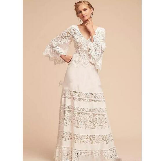 France Lace Long Sleeve Country Bohemia Wedding Dresses Plus Size V Neck  Full Length Boho Wedding Bridal Gown For Beach Party