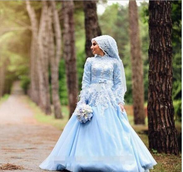 Charming Blue A-line Muslim Wedding Dresses With Flower Feathers Bridal Dresses
