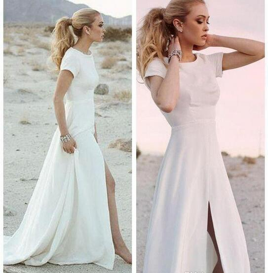 Simple Satin High Split Wedding Dresses Short Sleeve Beach Boho Garden Country