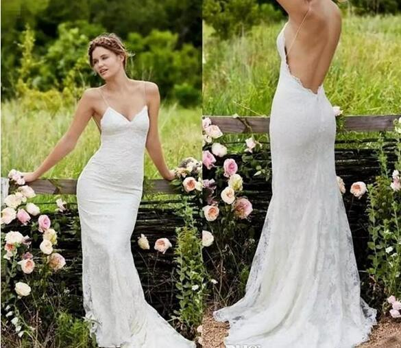 Sexy Country Wedding Dresses Mermaid Spaghetti Sweep Train Full Lace Bridal