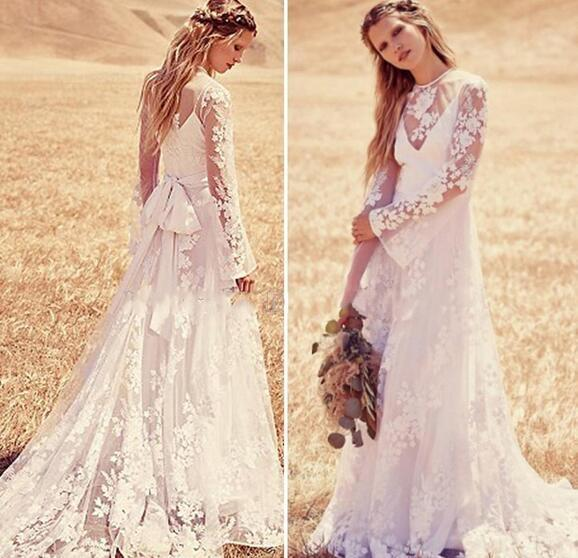 Bohemian Beach Cheap Country Wedding Dresses Sheer Neck Lace Applique Long