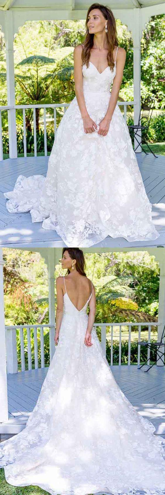 A-Line Spaghetti Straps Backless Long Lace Wedding Dress