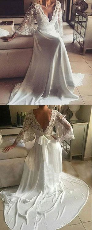 Romantic Boho V Neck Lace Appliques Chiffon Long Beach Wedding Dress with Sash