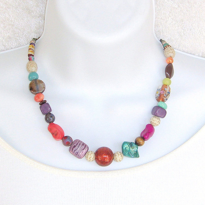 Necklace beaded in Chunky Multicolored beads with bronze toggle clasp,