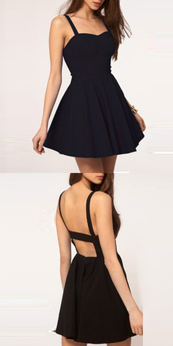 Simple A-Line Spaghetti Straps Backless Black Short Homecoming Dress, Sexy