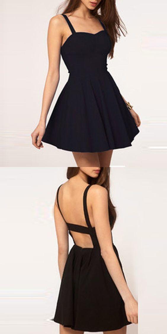 Simple A Line Spaghetti Straps Backless Black By Dress Storm On Zibbet