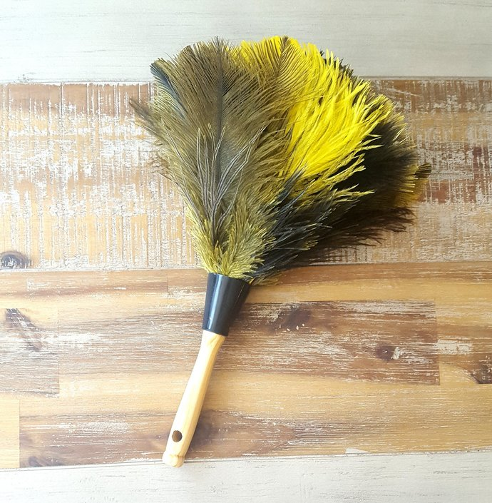 Genuine Ostrich Feather Duster with Wooden Handle