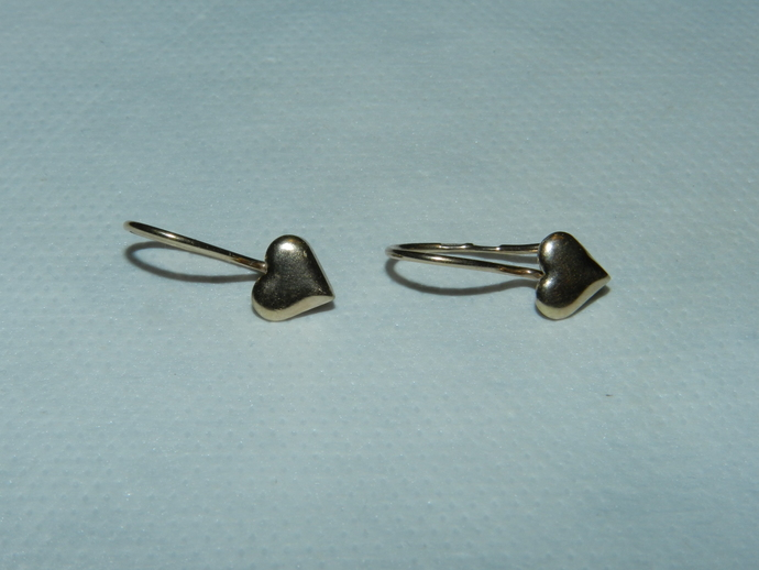 Vintage Earrings Heart Silver 925 Gold Plated