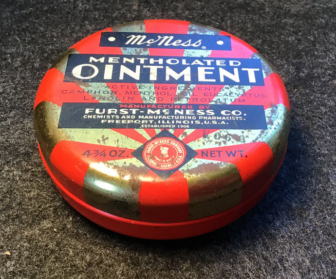 Vintage Tin McNess Mentholated Ointment Red and Gold Tin