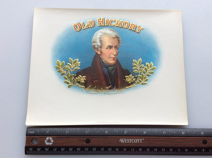 Antique Cigar Box Label Old Hickery Andrew Jackson Embossed Lithograph