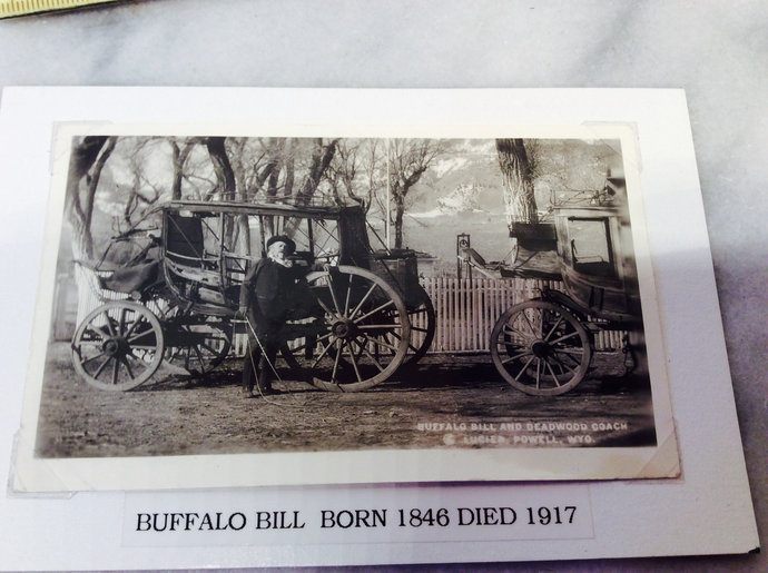 Antique Photo Famous Buffalo Bill with the Famous Deadwood Stage Coach