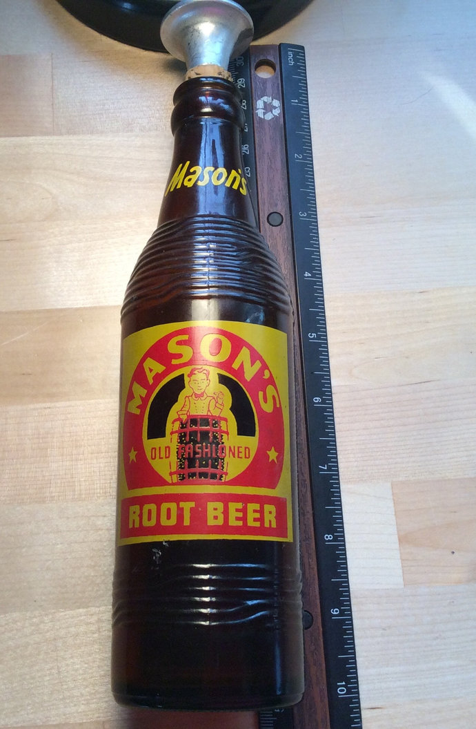 Vintage 1950 Mason's Root Beer Bottle with Sprinkle top for ironing clothes