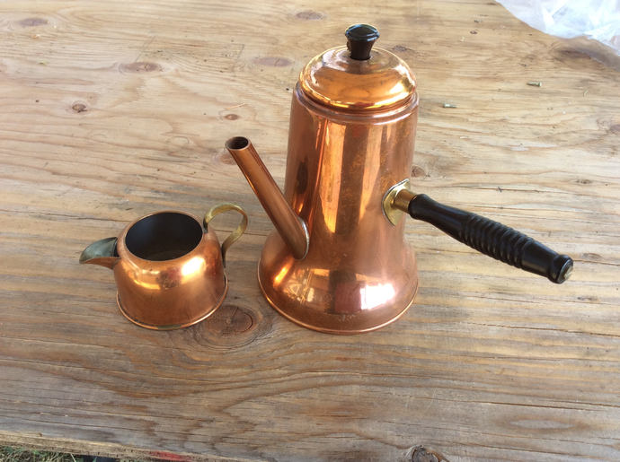 Vintage Turkish Copper Coffee  Pot with Creamer
