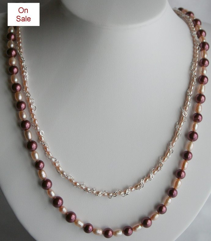 Clearence:  Dark Red and Cream Freshwater Pearl and Shell Pearl Necklace