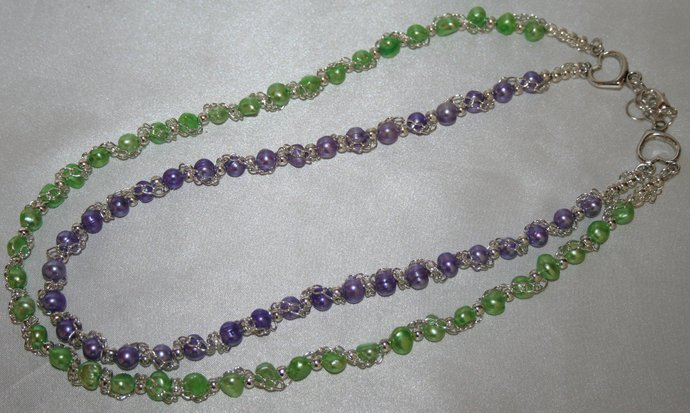 Clearence:  Freshwater Green and Purple Pearl Necklace