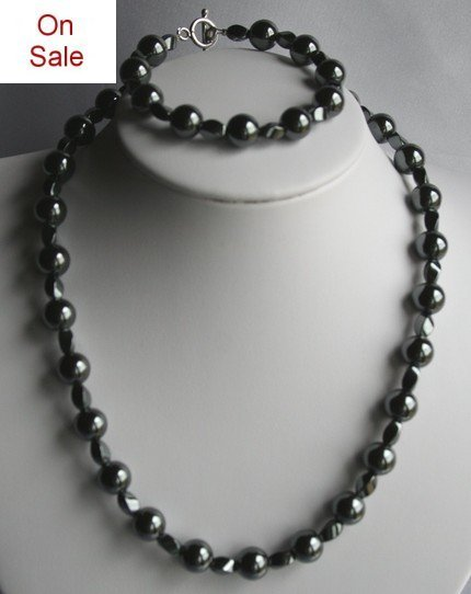 CLEARENCE Simple Basic Black Hematite Necklace and Bracelet