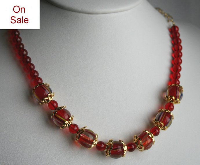 CLEARENCE Fiery Red Lampwork Glass Beaded Necklace