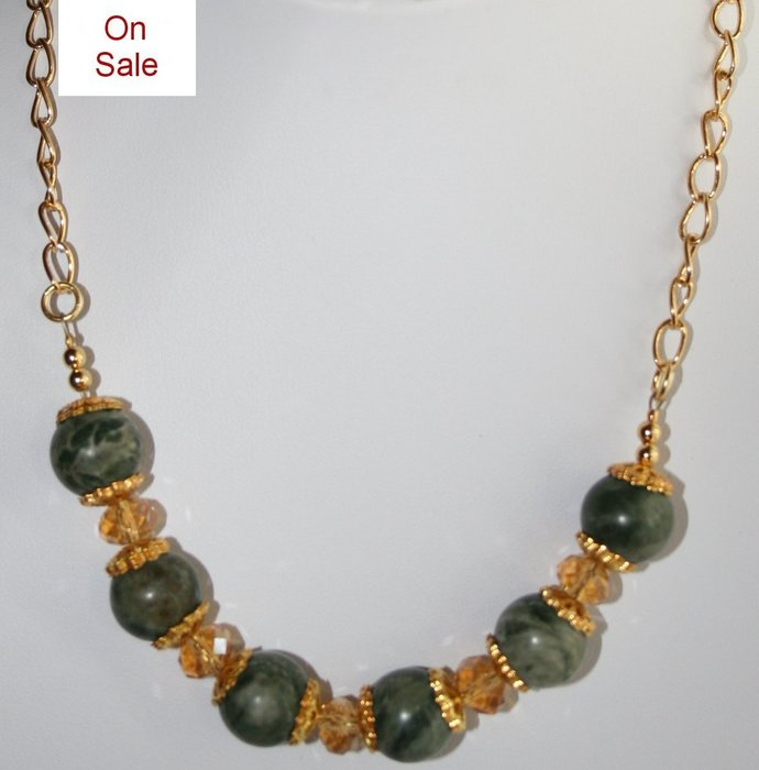 Canadian Jade and Crystal Bead Necklace, Gold Chain Necklace