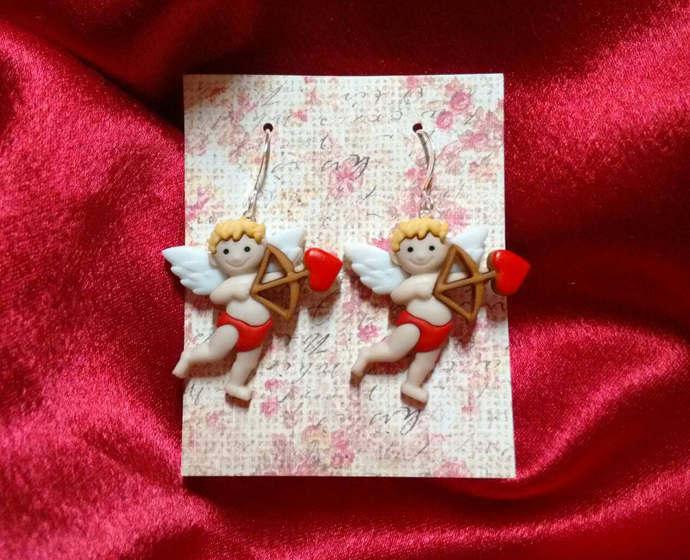 Valentines earrings, Valentines cupid earrings, Valentines heart earrings,