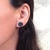 Onyx and Mother of Pearl Earrings, Genuine Stone Studs with Shell Inlay,