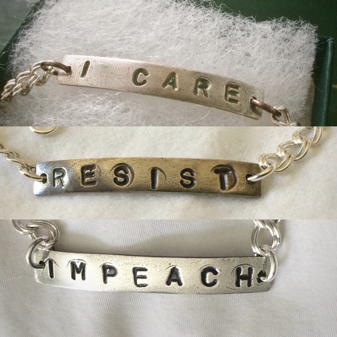 Resist bracelet, I Care, silver jewelry, Me Too, Time's Up, , anti-trump,