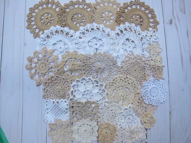30pcs  Vintage Crochet Doilies - Rosettes, Fairy Garden, Vintage, Peachy Pink