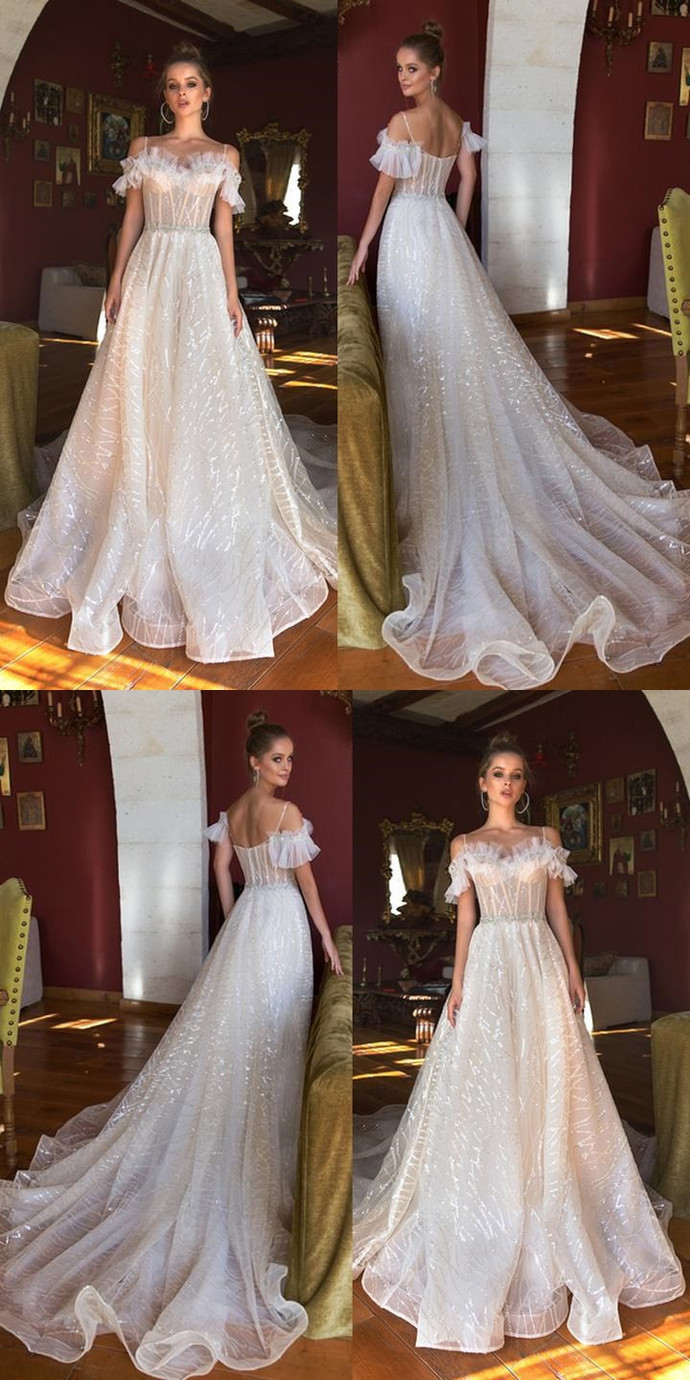 Vintage Sequin A-Line Beaded Wedding Dresses, by MeetBeauty on Zibbet