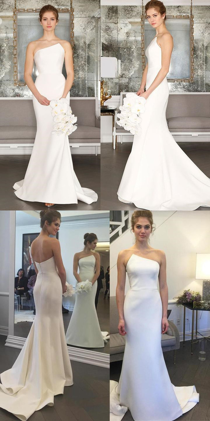 Charming Satin Wedding Dress, Simple Design Backless Mermaid Wedding Dress