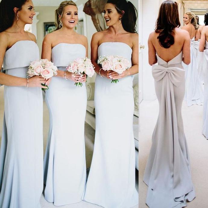 Elegant Mermaid Backless Bridesmaid Dress, Bridesmaid Dress with Bow-Knot