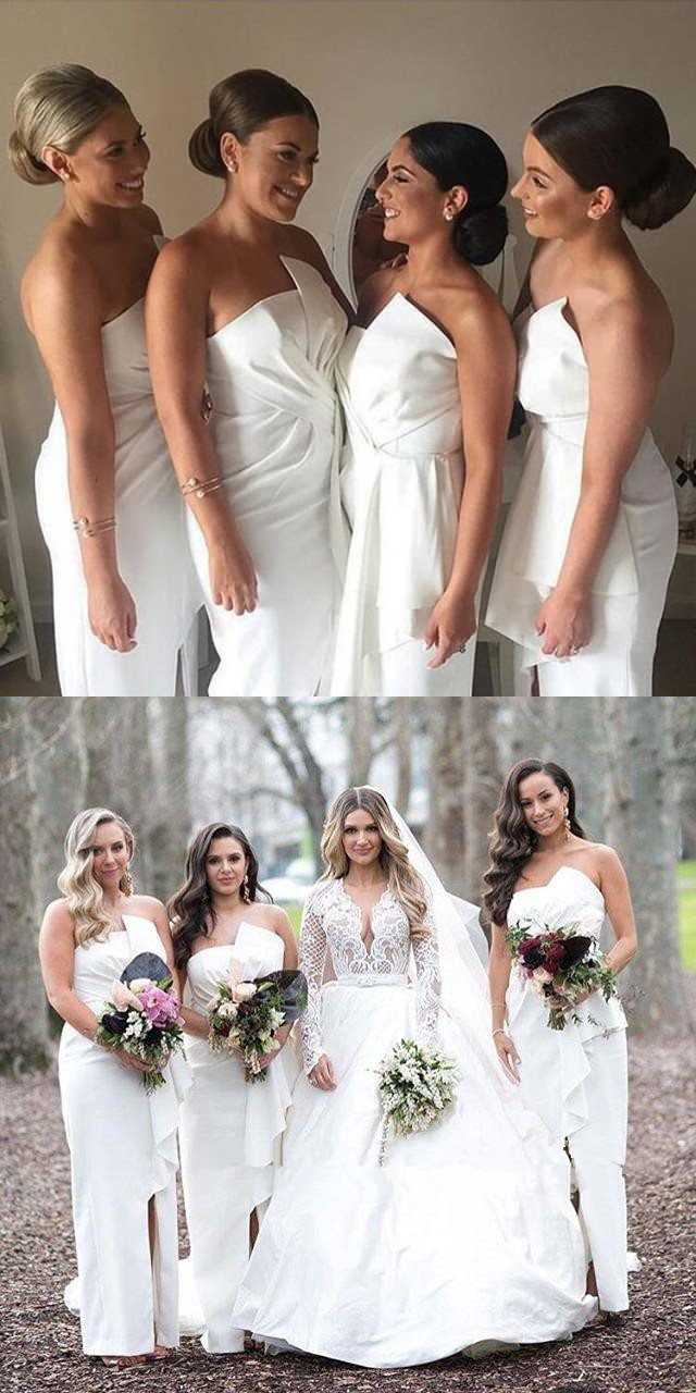Charming White Slit Bridesmaid Dress, Cheap Backless Mermaid Bridesmaid Dress