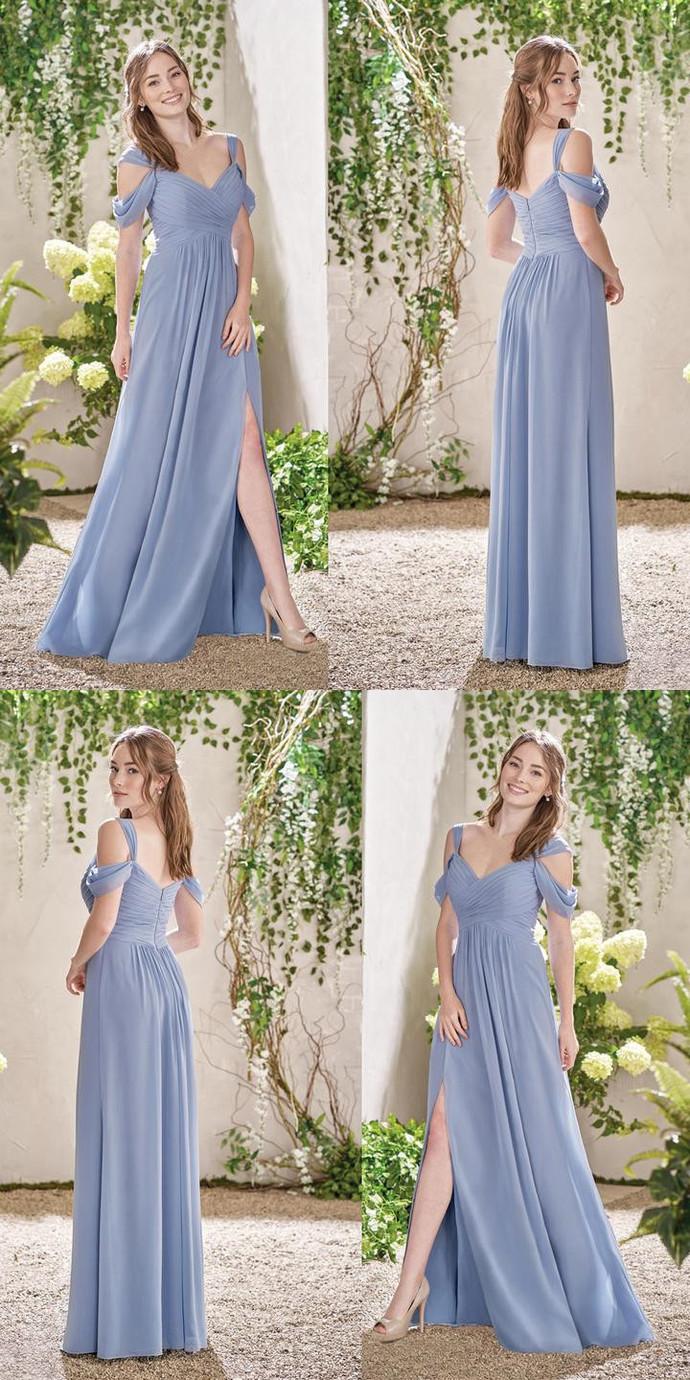 Chiffon Bridesmaid Dress, A-Line V-Neck Floor-Length Bridesmaid Dress