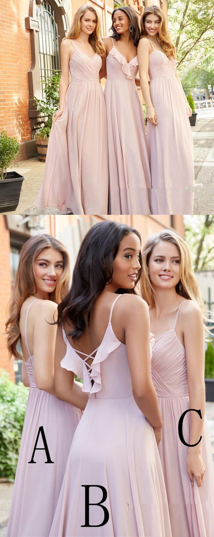 Mismatched Bridesmaid Dress, Chiffon Bridesmaid Dress, Pink Bridesmaid Dress