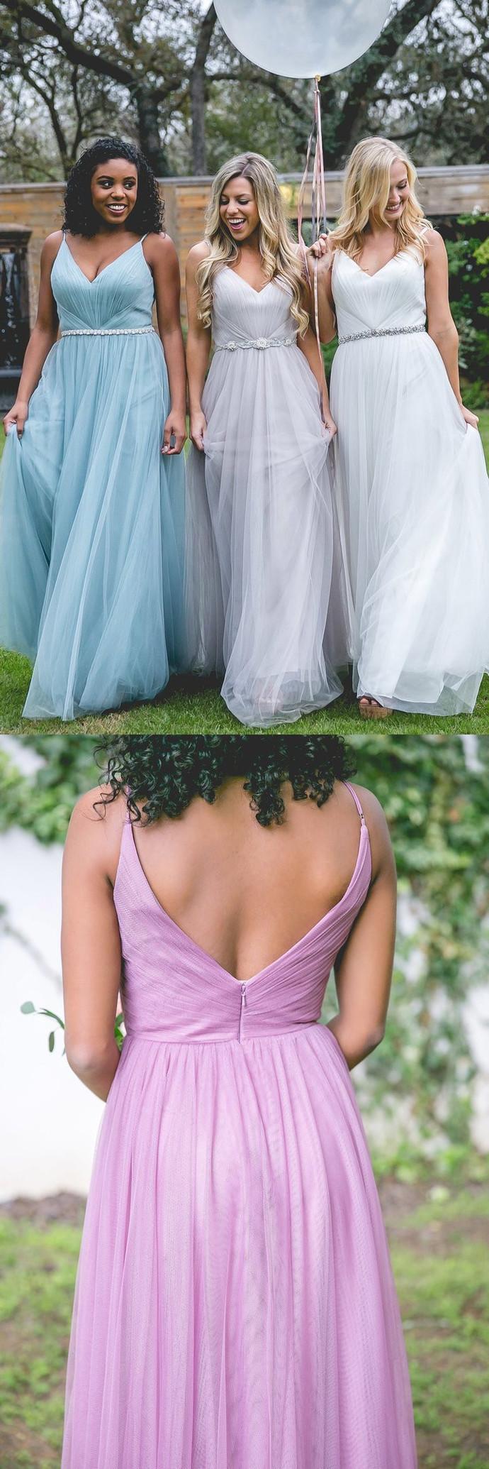 Long Bridesmaid Dress, Tulle Bridesmaid Dress, V-Neck Bridesmaid Dress, Dress