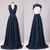 New Long Lace Top Bridesmaid Dresses, Navy Blue Chiffon Bridesmaid Dresses