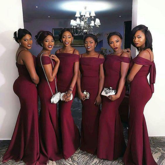 Burgundy Mermaid Sexy Floor Length Wedding Bridesmaid Dresses
