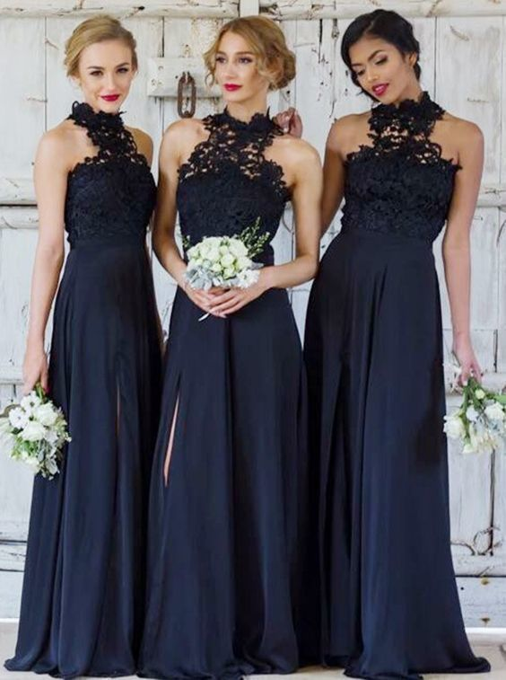 A-Line High Neck Navy Blue Chiffon Bridesmaid Dress with Lace Split 1467