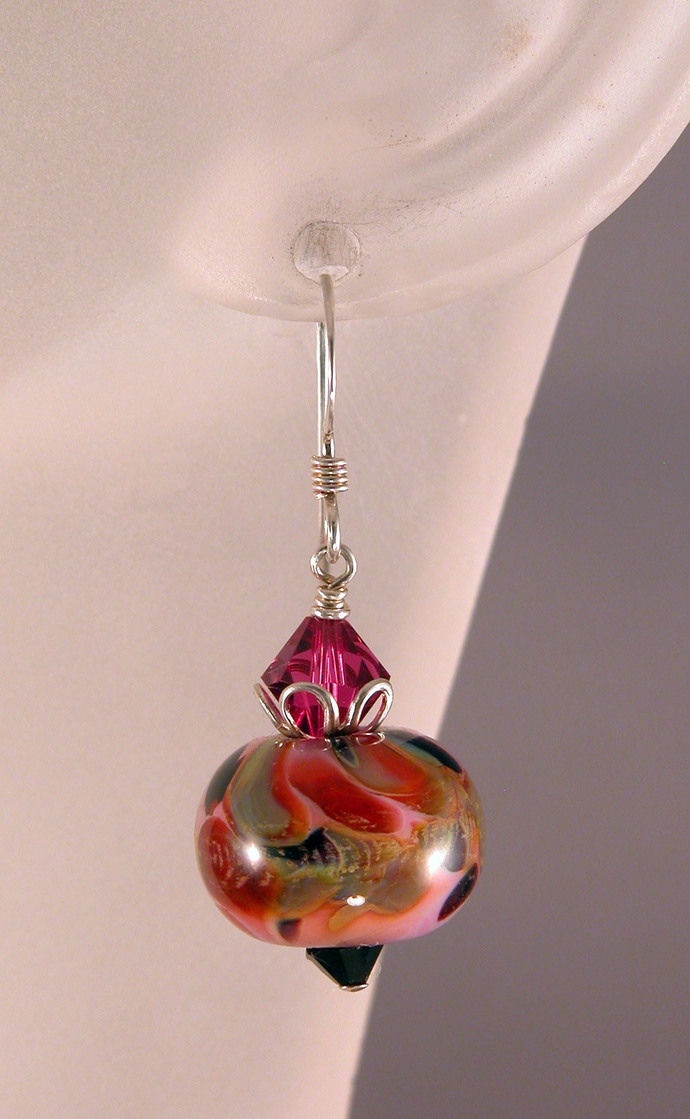Pink Camo Earrings - artisan lampwork, sterling silver pink camouflage black