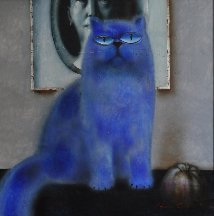 Blue Cat Portrait Original Ukrainian Russian OIL PAINTING, cat animal art,