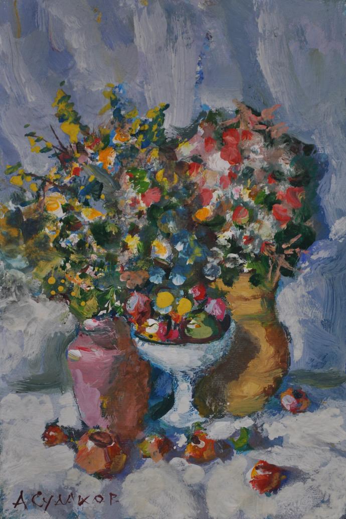 ORINAL MODERN Ukrainian Russian painting STILL LIFE Tempera on Canvas, Bouqeut