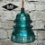 Glass Insulator Pendant Light - Blue Green Hemingray Insulator Pendant Light -