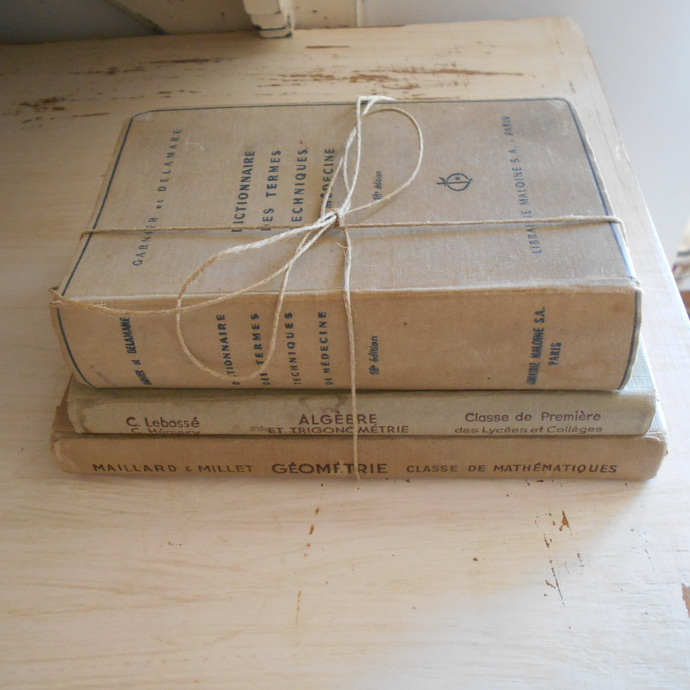 Three Vintage French Books. Cream Book Stack. Books for Decoration and Display.