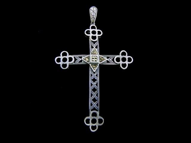 Vintage Estate Sterling Silver Religious Cross Pendant 14.0g E1136