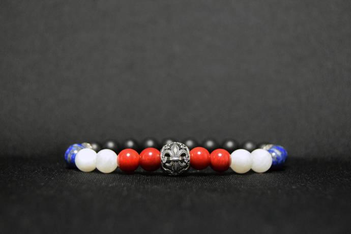 EXPRESS SHIPPING - France Flag Bracelet 925 Silver Bead Bracelet, Fleur-De-Lis